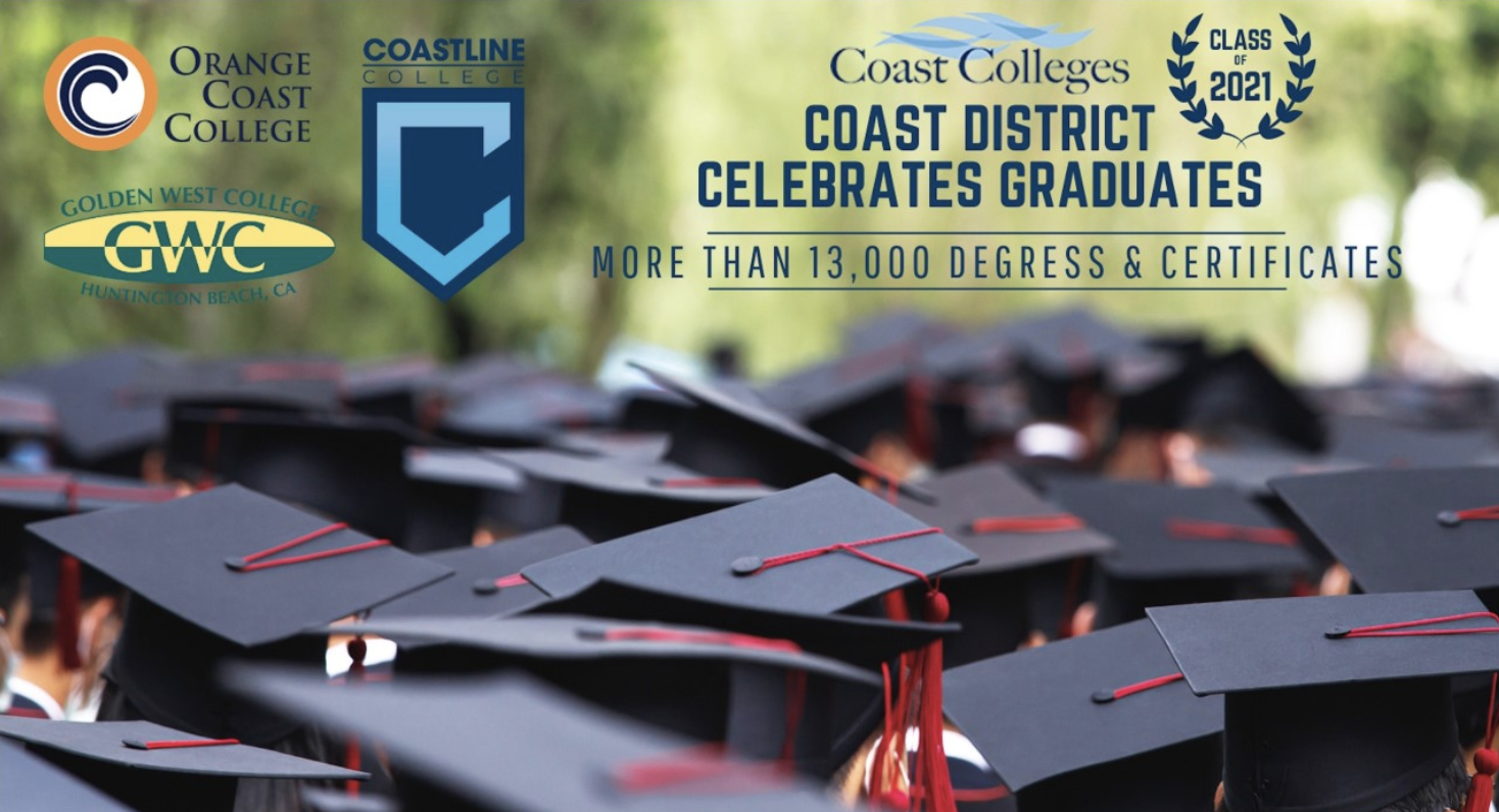 Graduation caps with logos of each school.